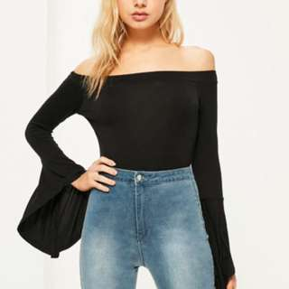 bardot waterfall sleeve bodysuit