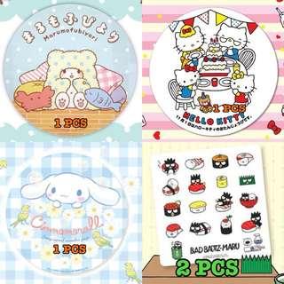 Bad Badtz Maru Cinnamoroll Hello Kitty marumofubiyori Big Round Stickers