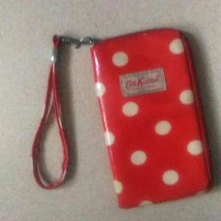 Red Polka dotted pouch/phone case