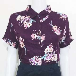 Floral Cropped Polo - Ultraviolet