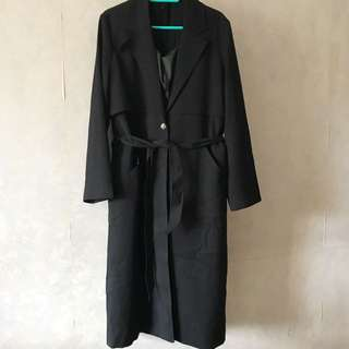 🈹New Trench coat long black 全新黑色長乾濕褸