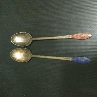 🚚 長輩遺留物 古董手工純銀製湯匙 1對2500