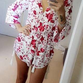 Red & White floral playsuit 💋