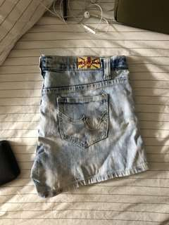 acid wash blue denim shorts