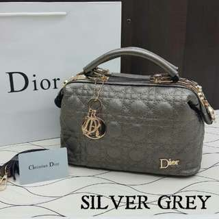 Dior Satchel Bag Silver Grey Color