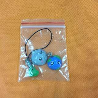 Polymer Moon and Earth Cellphone Charm