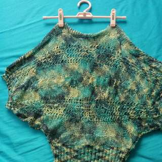 Batwing top in shades of blue etc