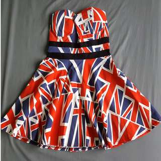 BN British UK Flag Tube/ Bustier Dress
