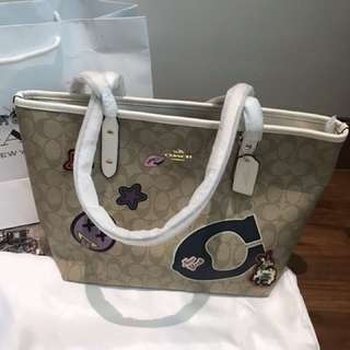 Coach City Zip Tote With Varsity Patches