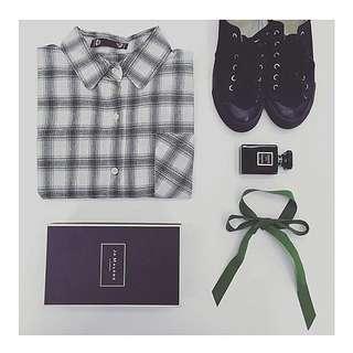 White Checkered BF Shirt