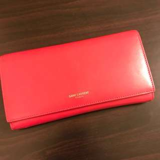 Saint Laurent wallet 桃紅色長銀包6-7成新