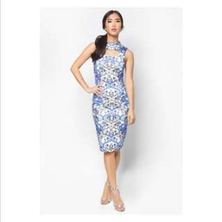 High Collar Cut-Out Body con Porcelain Midi Dress