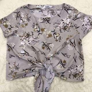 Beige Floral Tie Top
