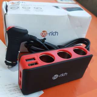 Te-rich 3 Socket and 4USB Car Charger Adapter Splitter