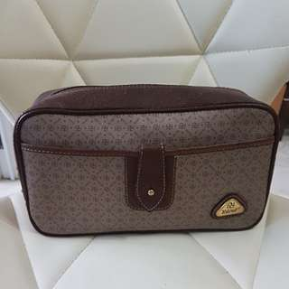 Yoland Leather & Monogram Canvas Cosmetic /Accessories Pouch
