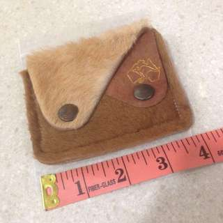 Vintage 70's Genuine Kangaroo fur leather button coin purse