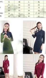 Cheongsam qipao CNY checked slit dress