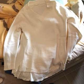GU 白色v領針織上衣