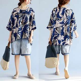 Plus Size Round neck hedging national wind flower sleeves sweater shirt shirt