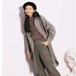 Oversize Corduroy Grey Wool Outerwear/Jacket