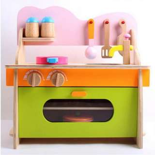 BN Wooden Kitchenette Stove & Oven Toy Play Set