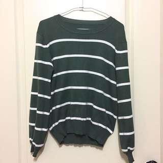 ✔️二手✔️條紋墨綠色蓬蓬袖針織上衣