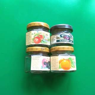 Four mini jam jars