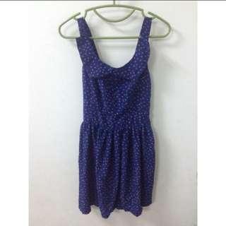 深藍碎花洋裝