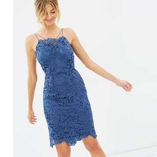 CHI CHI LONDON blue lace knee length cocktail bodycon dress 10