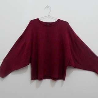 Stradivarius Maroon Fur Sweater