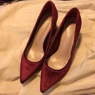 (全新New) ❤️閃跟🌟紅色絲絨高跟鞋(新娘鞋)
