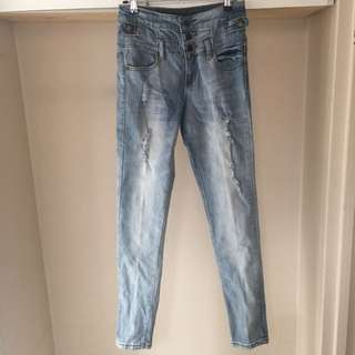 High Waisted Blue Wash Jeans