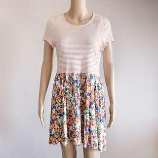 MINKPINK pink/white stripe floral skater flare casual dress M (10-12)