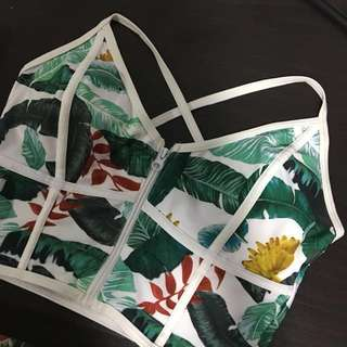 Two-piece Bikini Crop Top Leafy Swimsuit