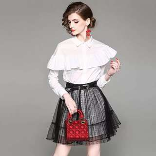 Long sleeve flounced white shirt long shift cotton blouse top with belted black sheer lace mesh flared mini skater skirt 2pcs set