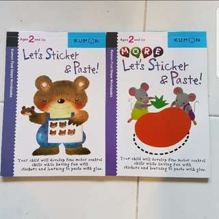 Set of 2 Kumon First Step Workbook: Let's Sticker and Paste