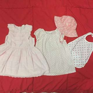 Baby H&M Girl dress, sunhat, bib set