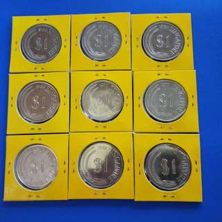 Singapore $1 coin mix year 9pcs