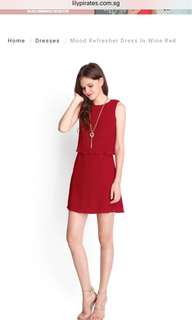 Lilypirates Mood Refresher Dress in Wine Red - S size