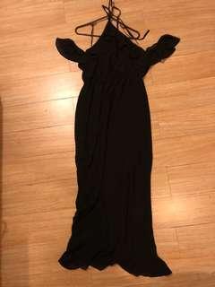 H&M Off Shoulder Long Black Dress