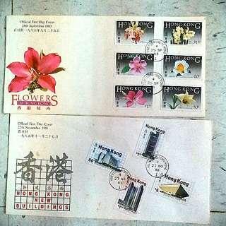 香港建築花卉Building Flower 香港 stamp 洋紫荊 紅館滙豐郵票