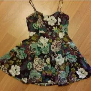 Vintage American purple and blue floral dress