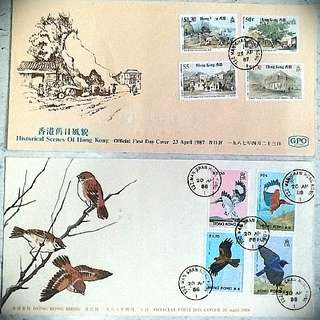 香港舊日鳥風貌 birds historical scene stamp 郵票