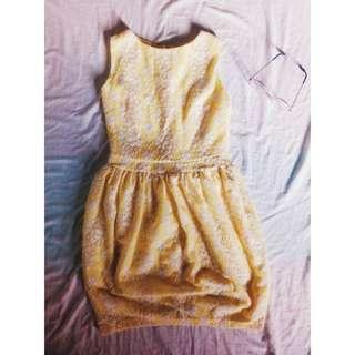 Floral Yellow-White Dress