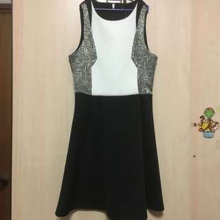 zalora black and white work dress