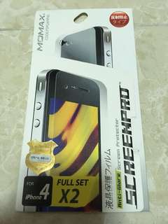 全新 Momax screen protector 磨砂 底+面 保護貼 for iPhone 4