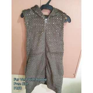 Fur Vest with Hoodie