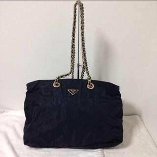 Prada Navy Nylon Chain Bag