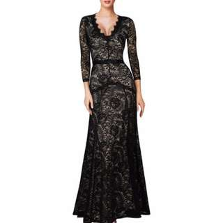 Long sleeve lace long dress