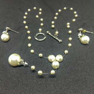 1 set kalung Mutiara White Pearl